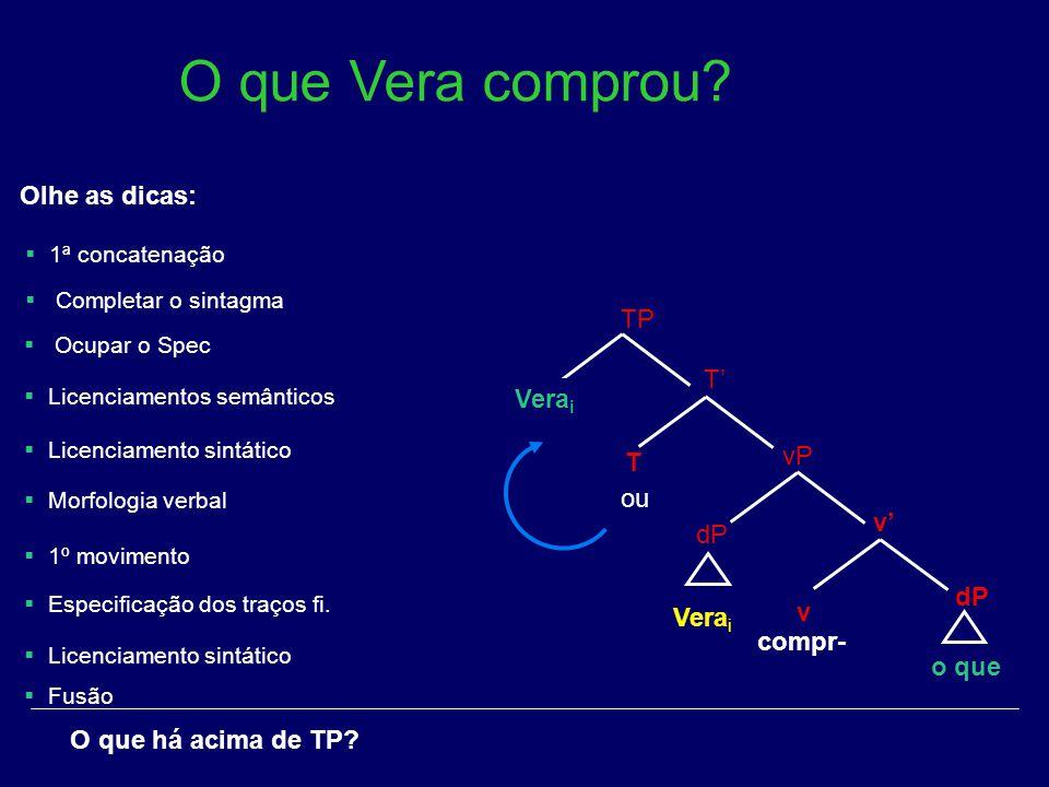 O que Vera comprou [φ] Olhe as dicas: TP T' Verai T vP ou v' dP dP